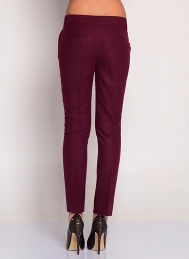 House Of Camellia Slim Fit Pantolon Bordo